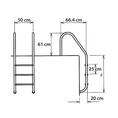 Escaleras de acero inoxidable inter water albercas aqua hego for Dimensiones de albercas
